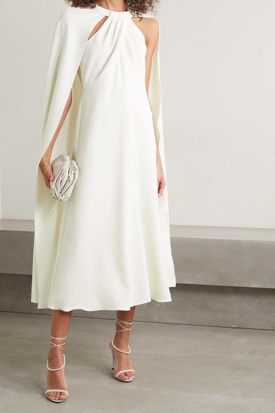 Marchesa Notte Cape-effect crepe midi dress