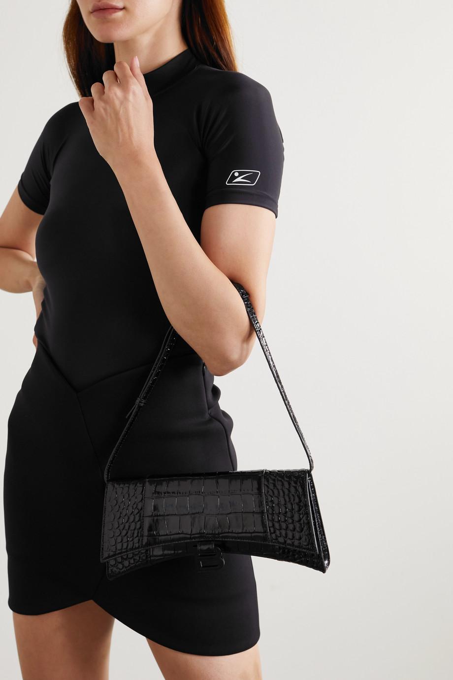 Balenciaga Sac porté épaule en cuir effet croco Hourglass Sling