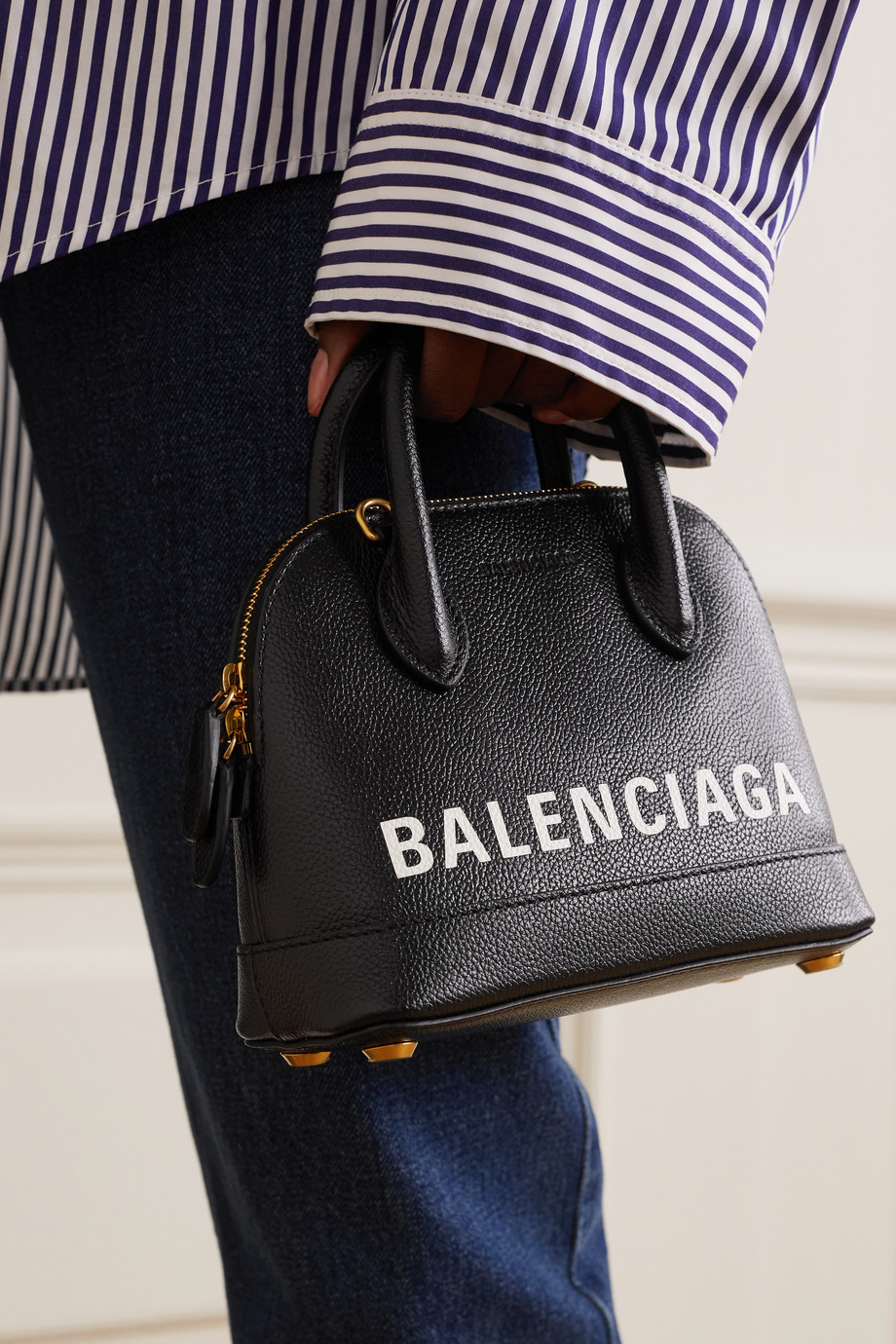 Balenciaga Sac à main en cuir texturé imprimé Ville XXS