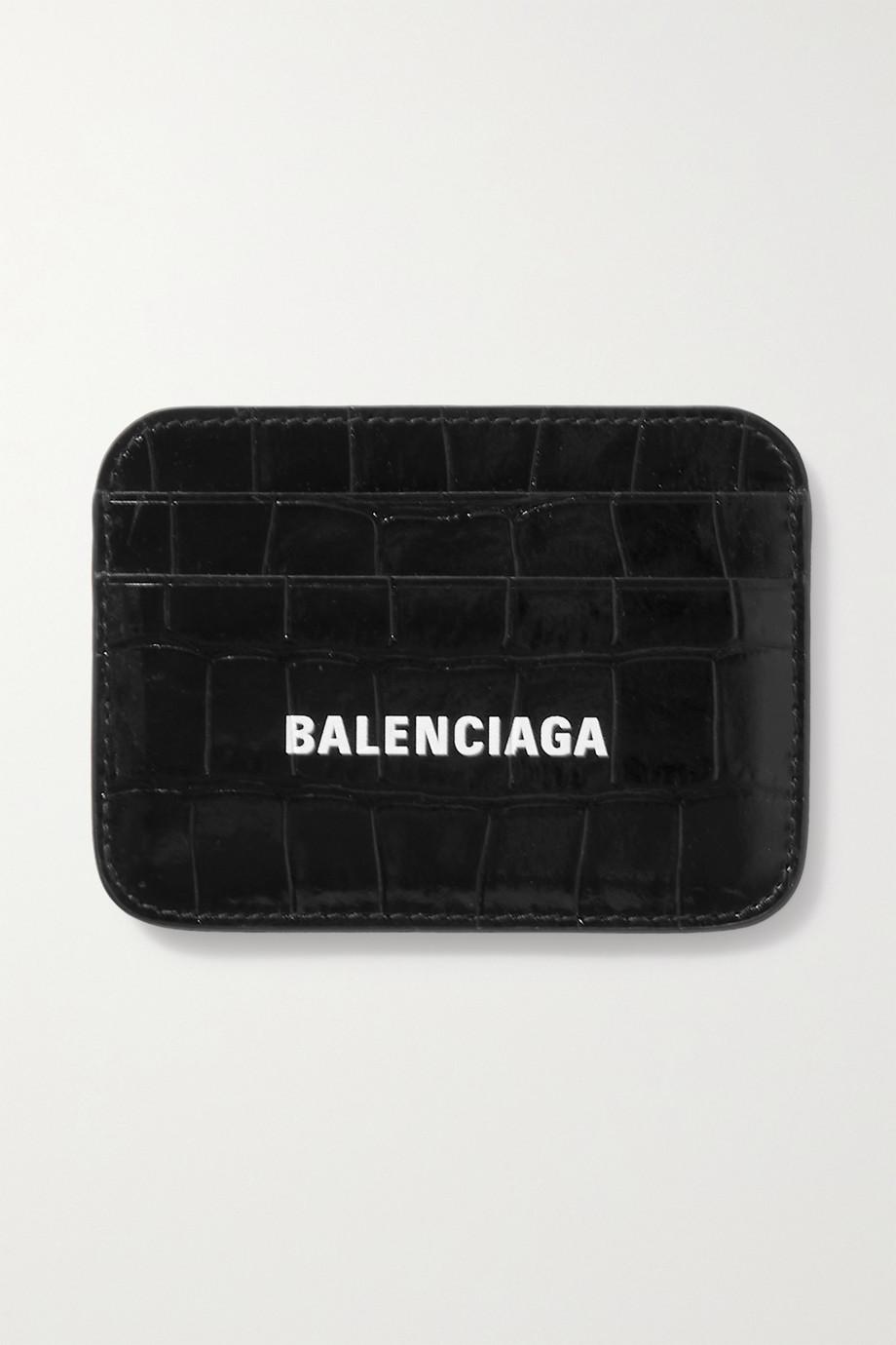 Balenciaga Cash printed croc-effect leather cardholder