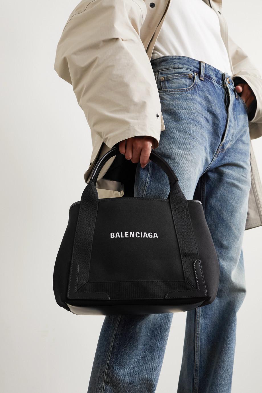 Balenciaga Sac à main en toile imprimée à finitions en cuir S Cabas