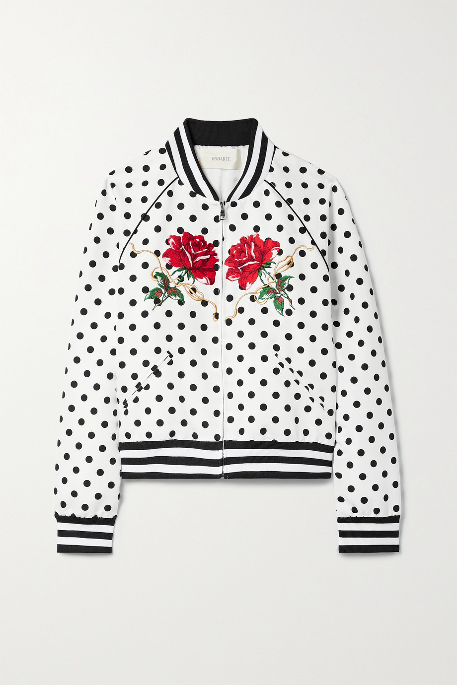 Rodarte Embroidered polka-dot twill bomber jacket
