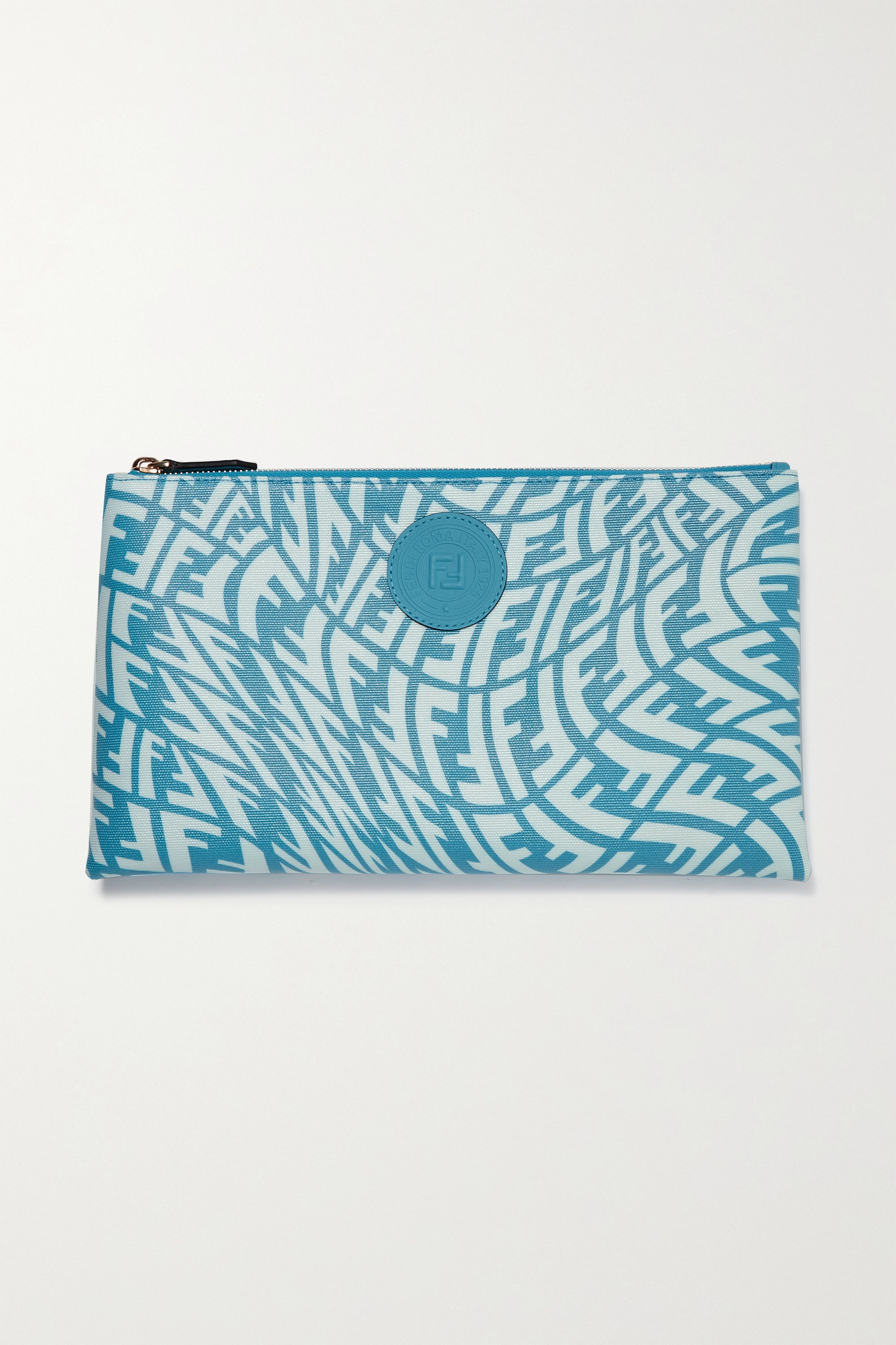 Fendi Leather-trimmed printed coated-canvas pouch