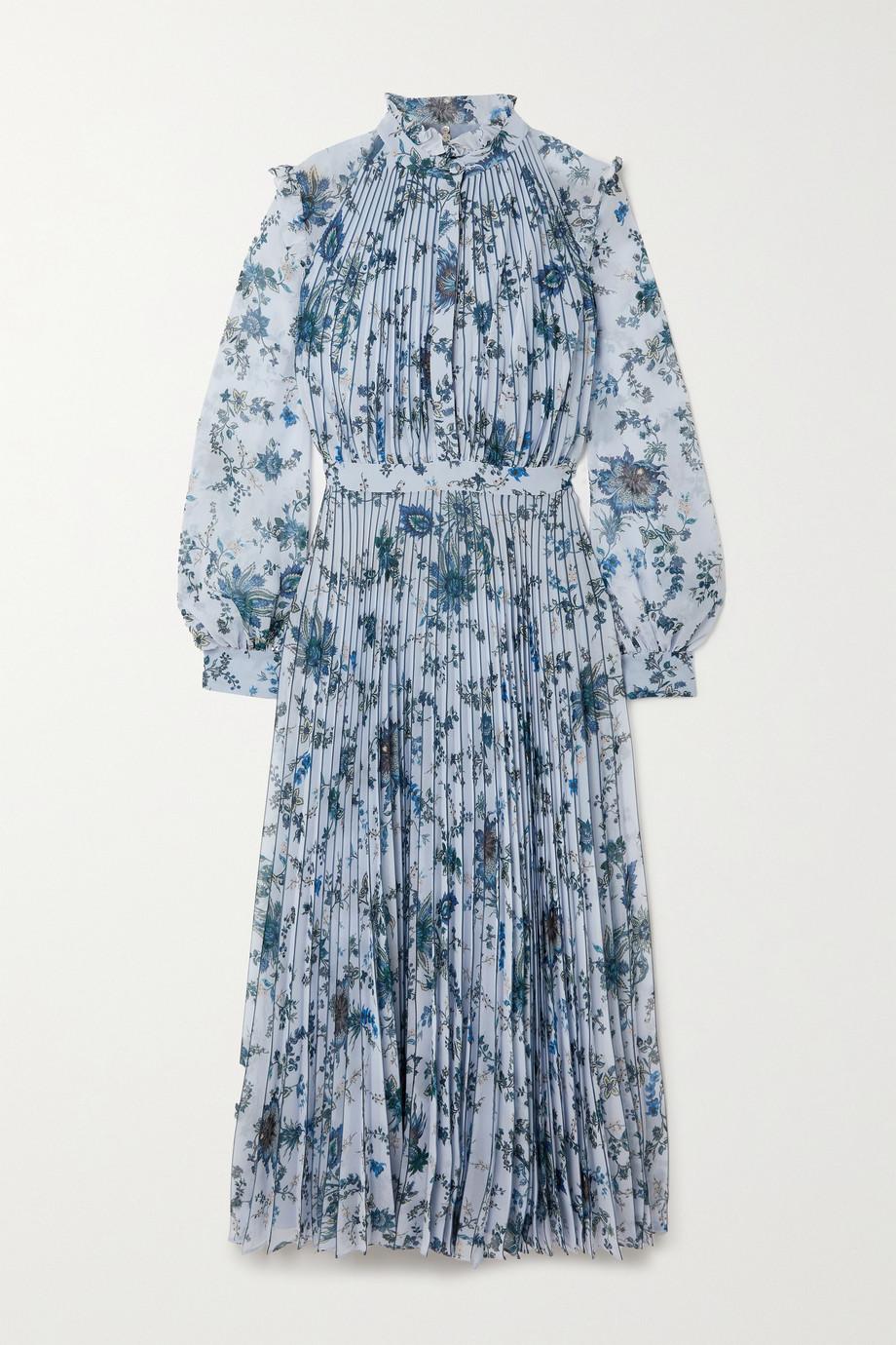 Erdem Robe midi plissée en voile à imprimé fleuri Narella Hogarth