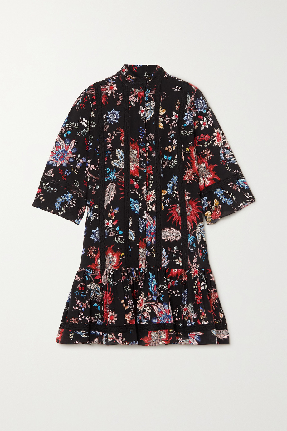 Erdem Mini-robe en soie à imprimé fleuri et à finitions en dentelle Bertram
