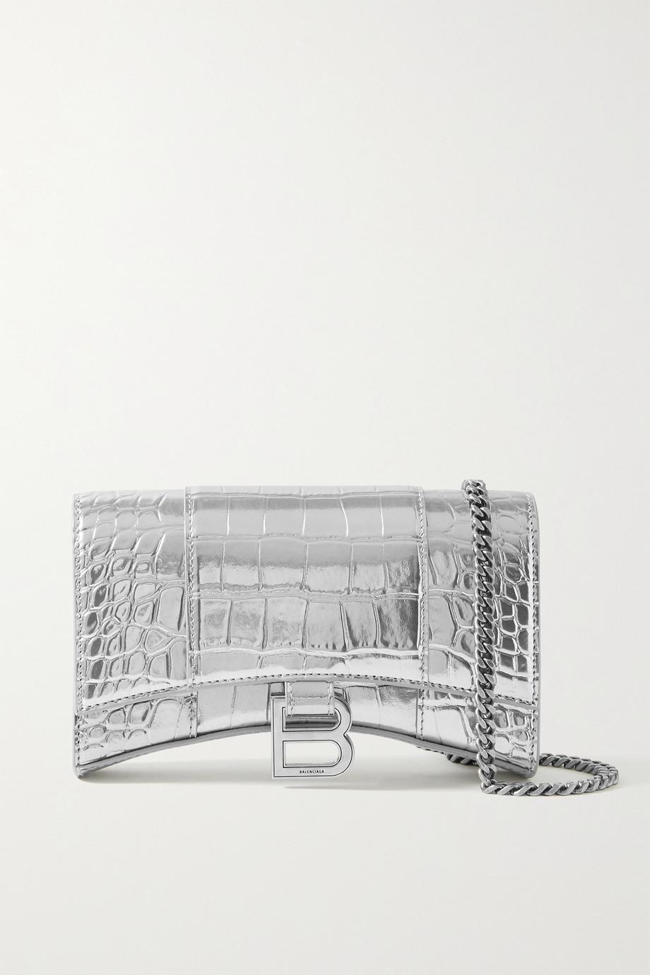 Balenciaga Sac porté épaule en cuir effet croco métallisé Hourglass XS