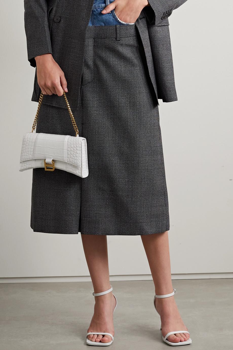 Balenciaga Sac porté épaule en cuir effet croco Hourglass XS