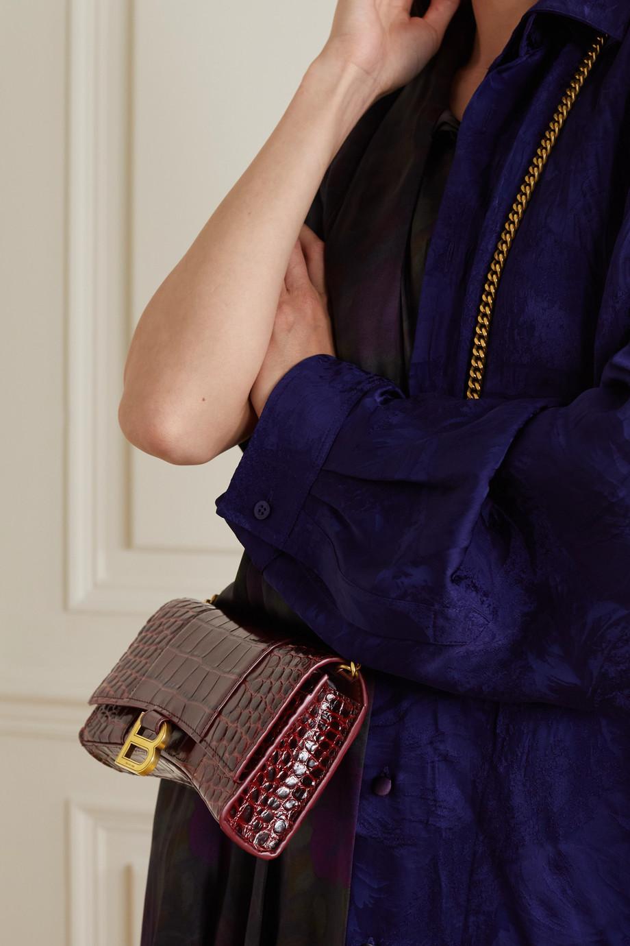 Balenciaga Sac porté épaule en cuir effet croco Hourglass