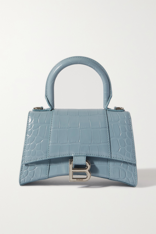 Balenciaga - Hourglass XS croc-effect leather tote