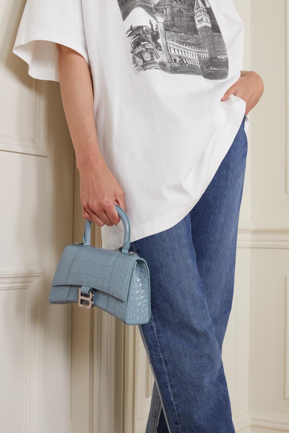 Balenciaga Sac à main en cuir effet croco Hourglass XS