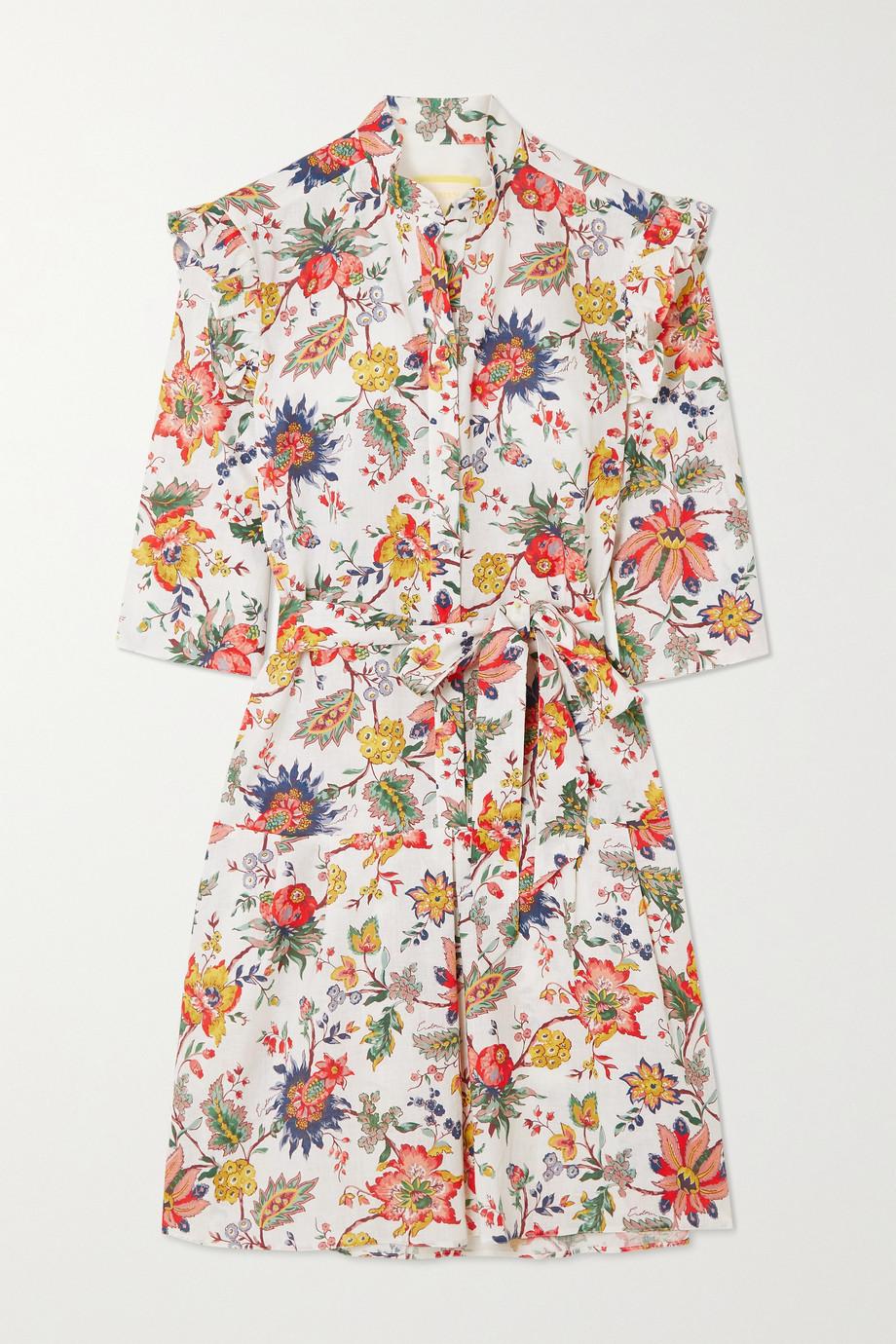 Erdem Mini-robe en lin et coton mélangés à imprimé fleuri Hvar