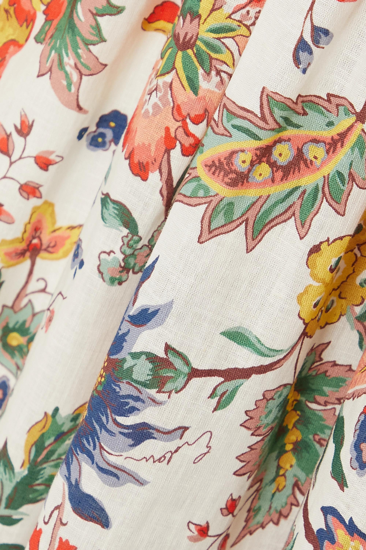 Erdem Positano Midikleid aus einer Baumwoll-Leinenmischung mit Blumenprint