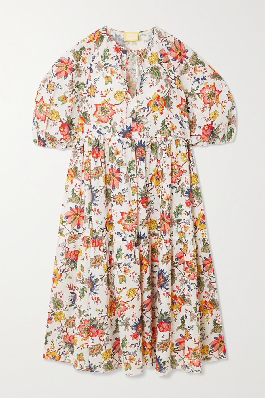 Erdem Robe midi en lin et coton mélangés à imprimé fleuri Positano