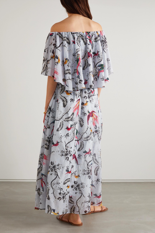 Erdem Robe longue en voile de coton et de soie mélangés imprimé Algarve