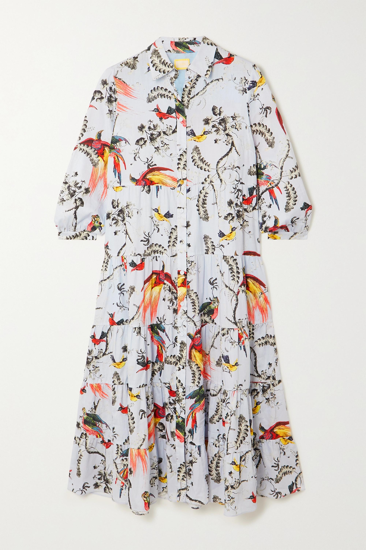 Erdem Patmos Midi-Hemdblusenkleid aus Baumwollpopeline mit Blumenprint