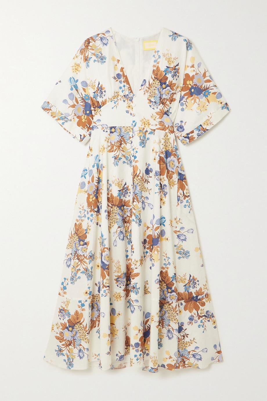 Erdem Robe midi en lin et coton mélangés à imprimé fleuri Ischia