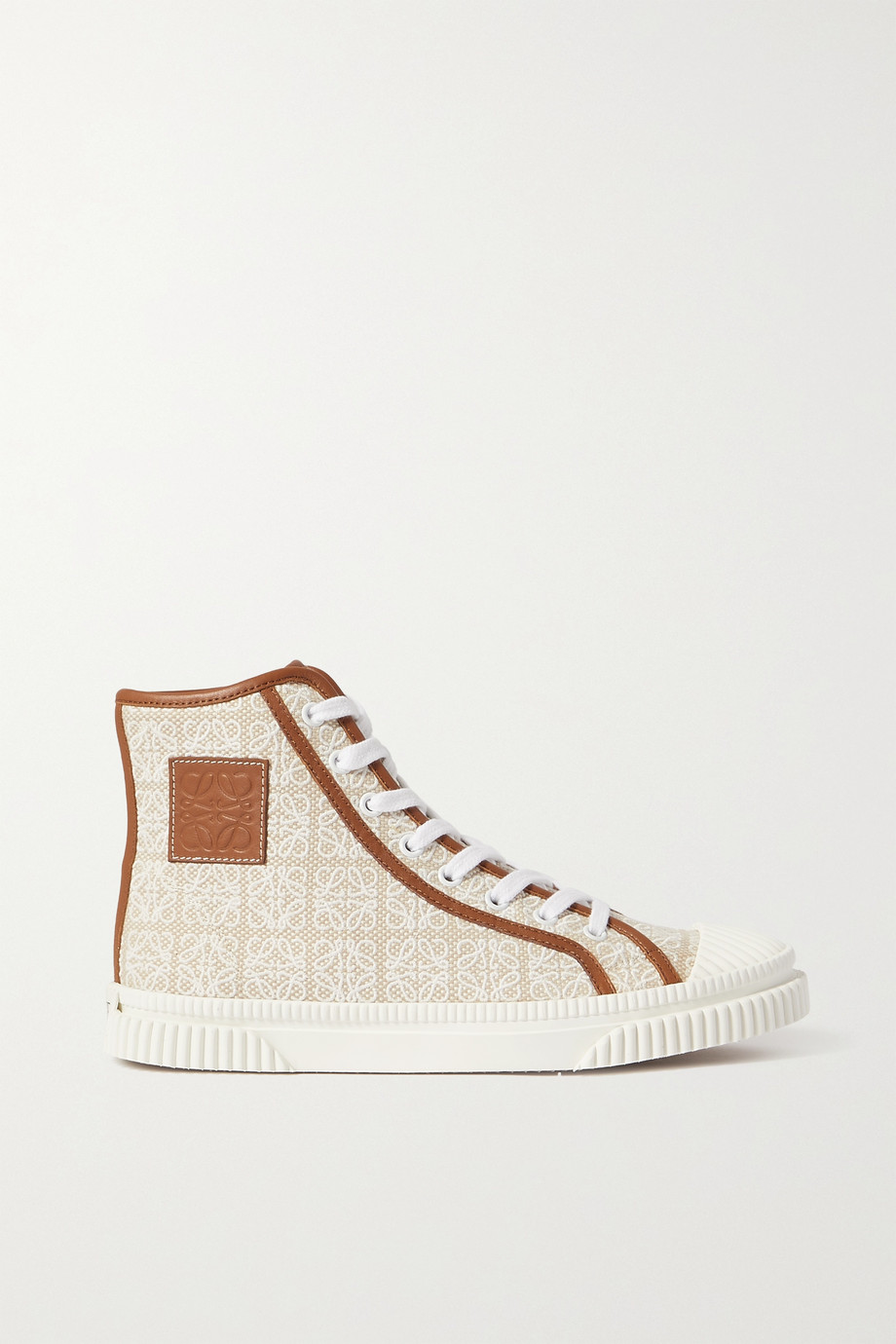 Loewe Leather-trimmed jacquard high-top sneakers