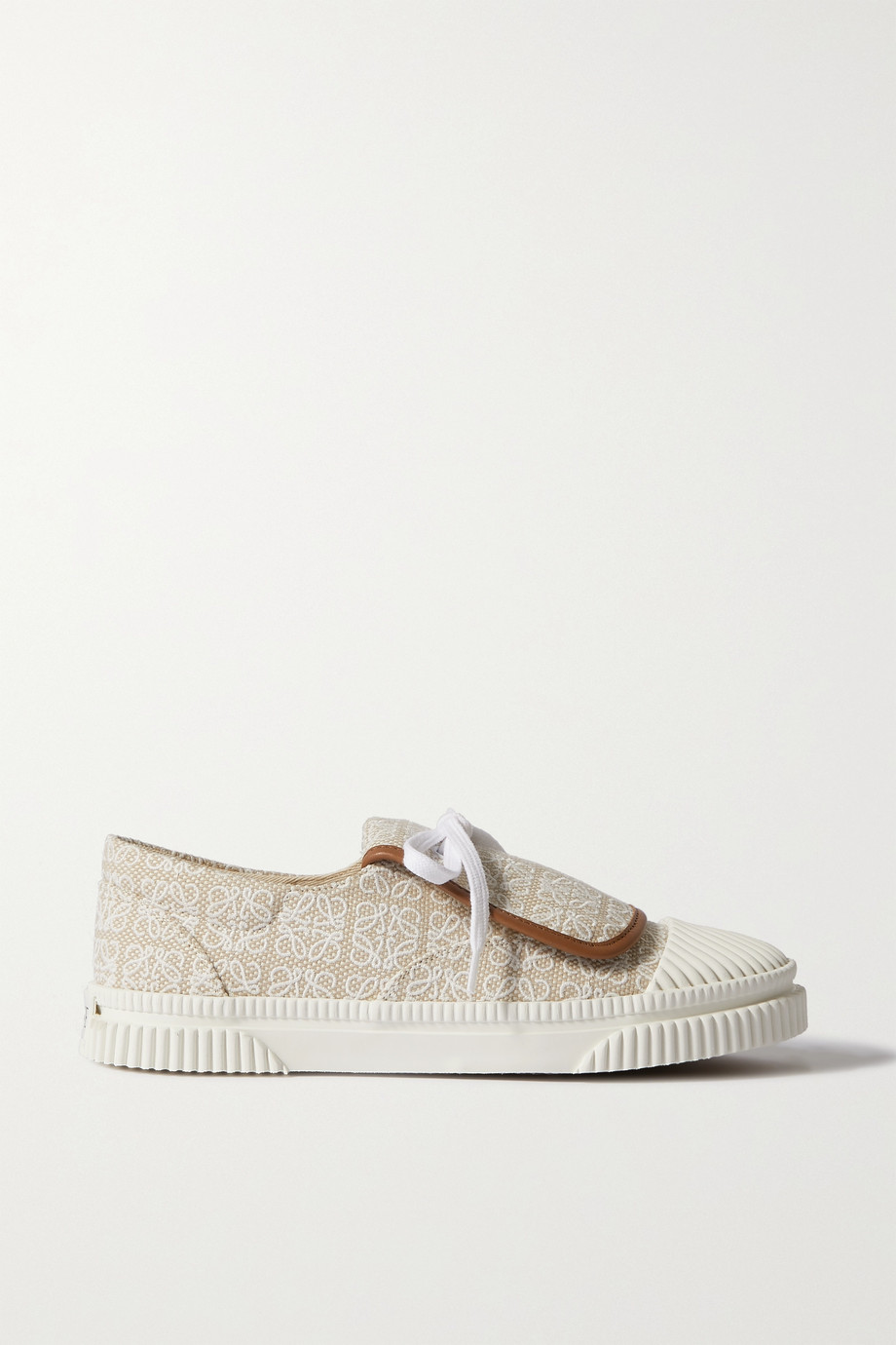 Loewe Anagram leather-trimmed canvas-jacquard sneakers