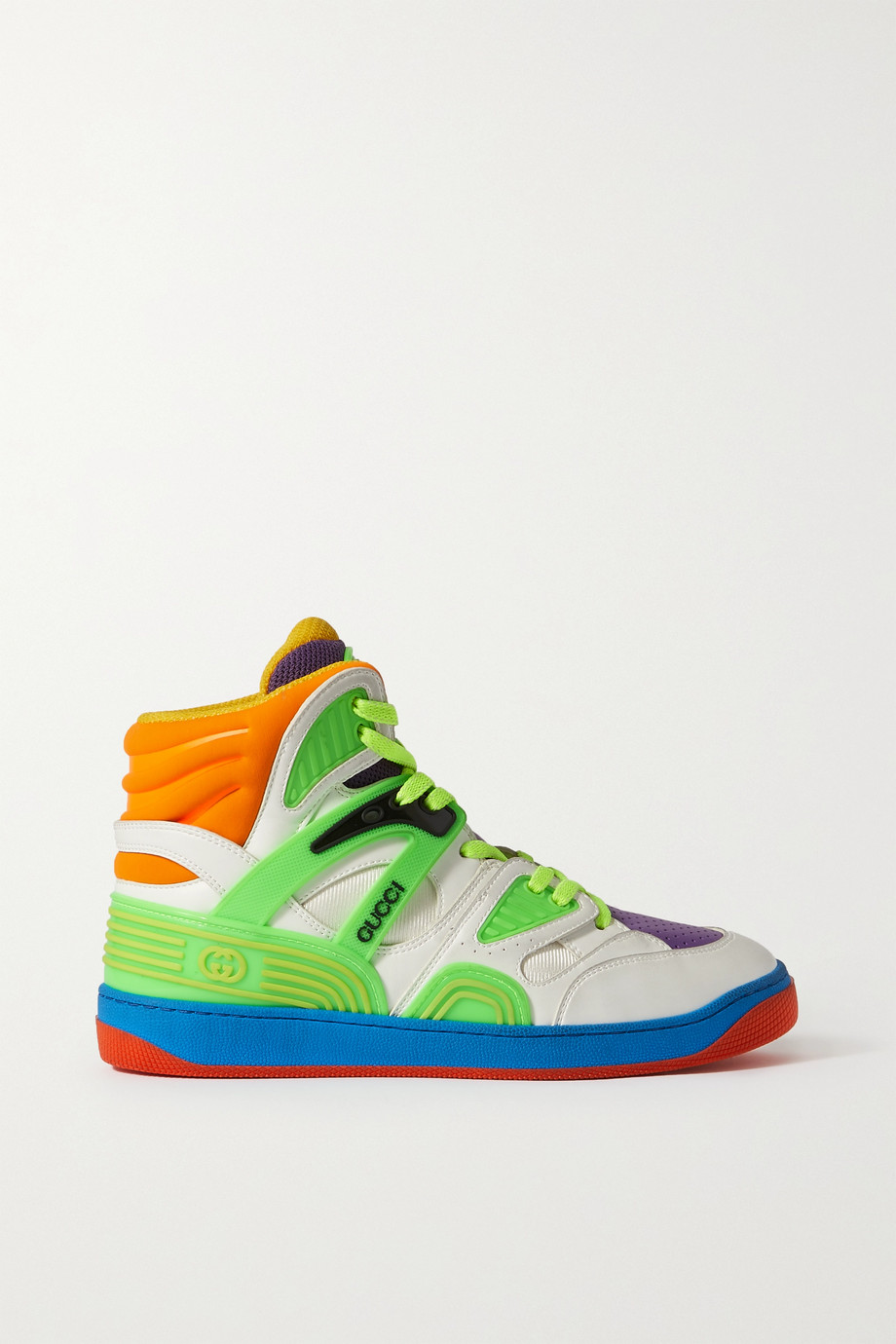 Gucci Basket rubber-trimmed faux leather and mesh high-top sneakers