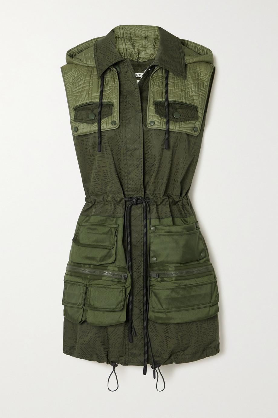 Fendi Mini-robe à capuche en gabardine de coton mélangé imprimée et en tissu technique matelassé