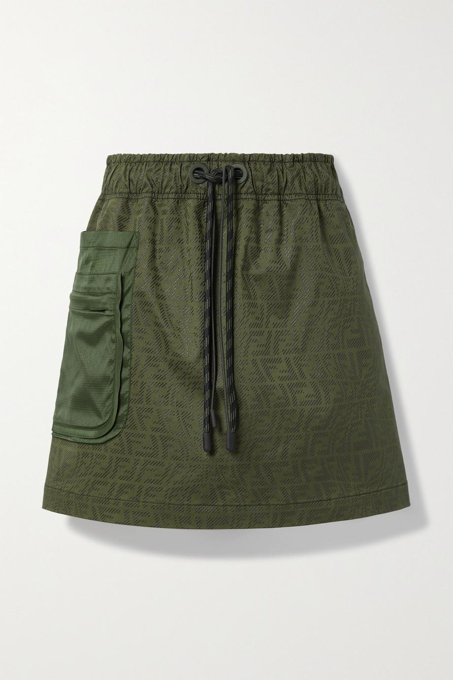 Fendi Mini-jupe en toile de coton mélangé imprimée à finitions en ripstop