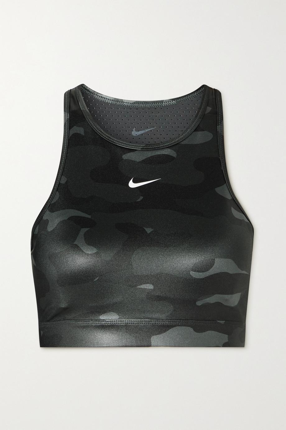 Nike Swoosh mesh-paneled cutout camouflage-print Dri-FIT sports bra