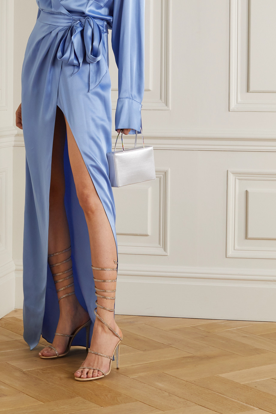 René Caovilla Cleo crystal-embellished leather sandals