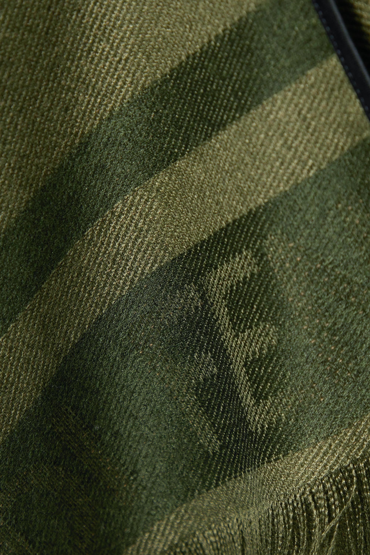 Fendi Fringed silk and cashmere-blend jacquard poncho