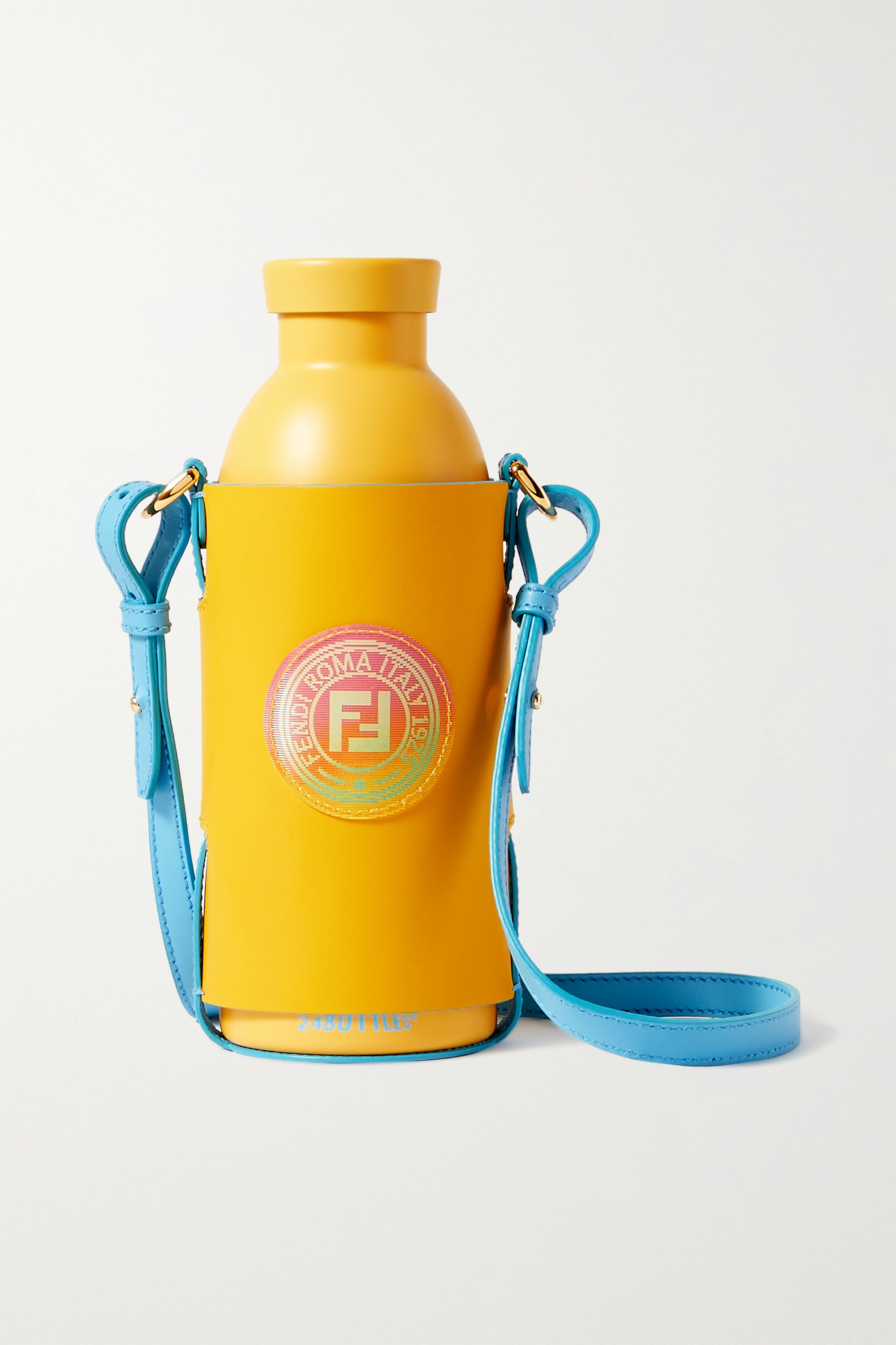 Fendi Stainless steel water bottle and leather holder