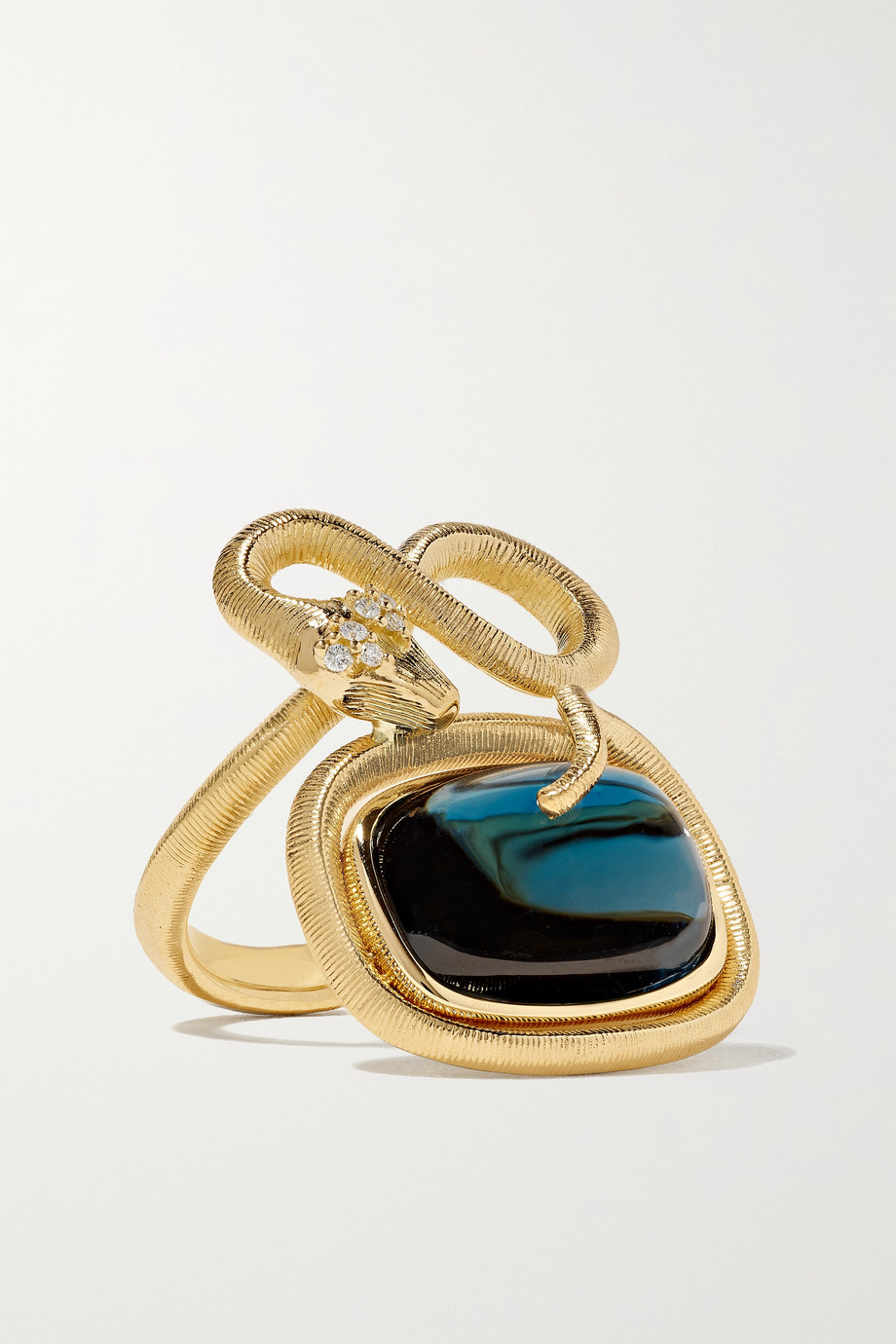 OLE LYNGGAARD COPENHAGEN Snake Ring aus 18 Karat Gold mit Topas und Diamanten