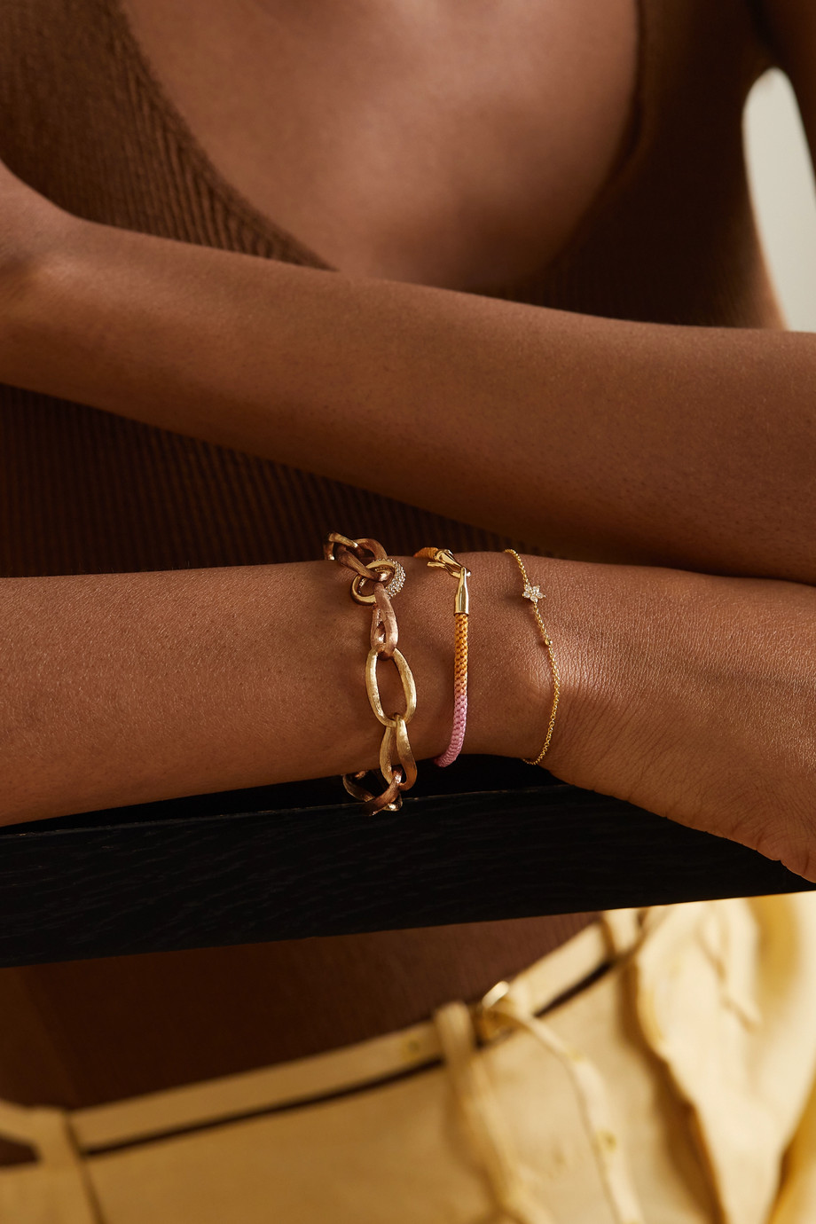 OLE LYNGGAARD COPENHAGEN Bracelet en or jaune et rose 18 carats (750/1000) et diamants Love Medium