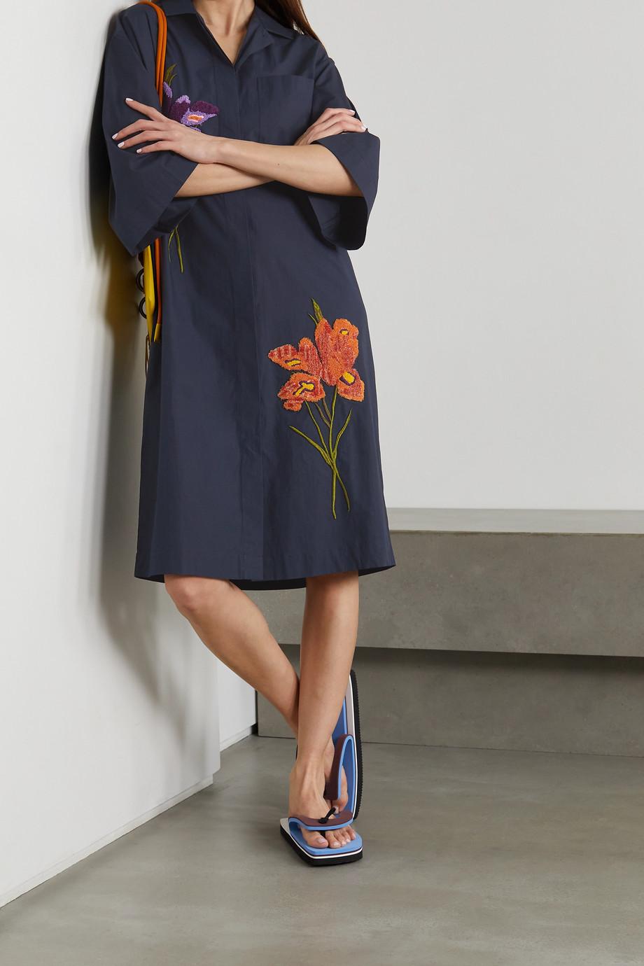 Dries Van Noten Dorali oversized embroidered cotton-poplin shirt dress