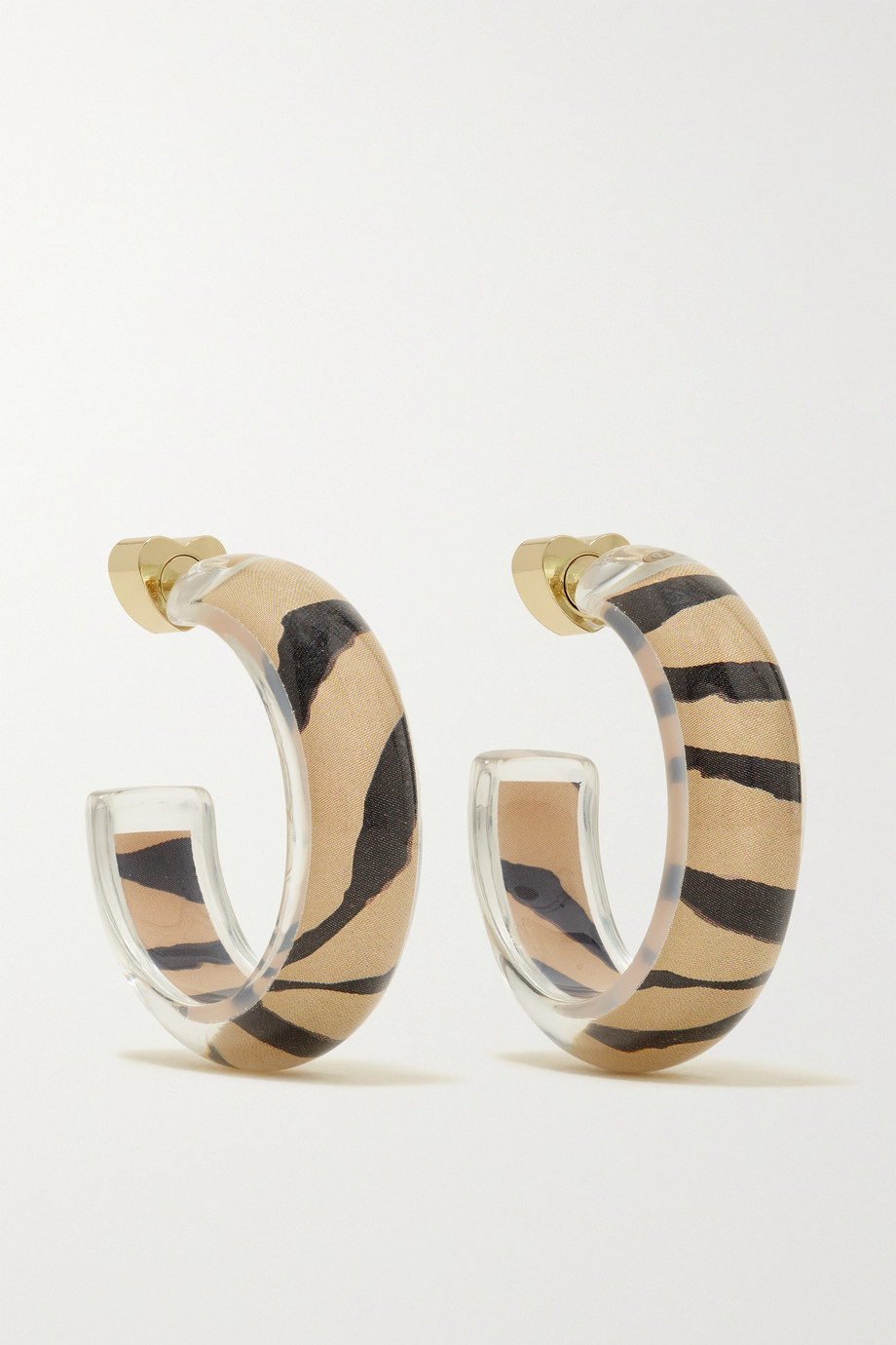 Alison Lou Jelly Tiger 14-karat gold, lucite and enamel hoop earrings