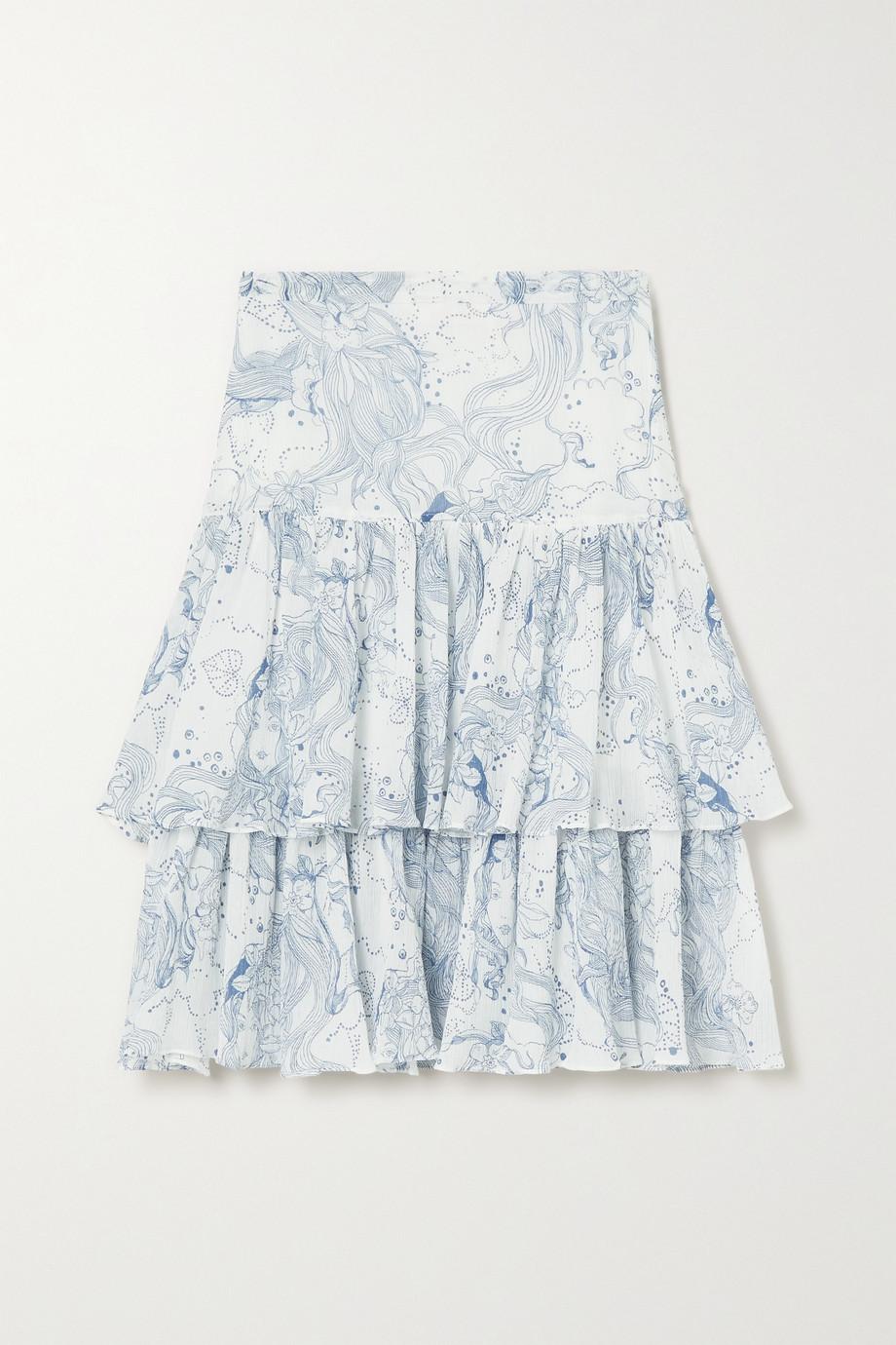 See By Chloé Jupe midi en crépon de coton et de soie mélangés imprimé à volants
