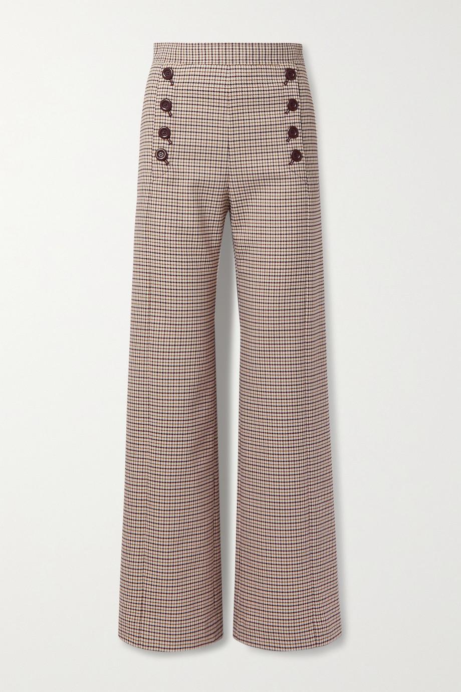 See By Chloé Hose mit weitem Bein aus kariertem Webstoff mit Zierknöpfen