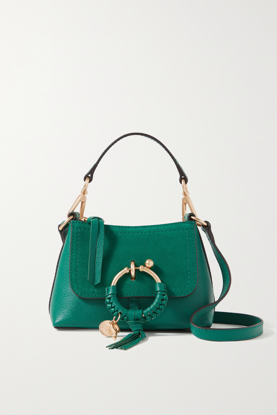 See By Chloé Joan mini suede-trimmed textured-leather shoulder bag