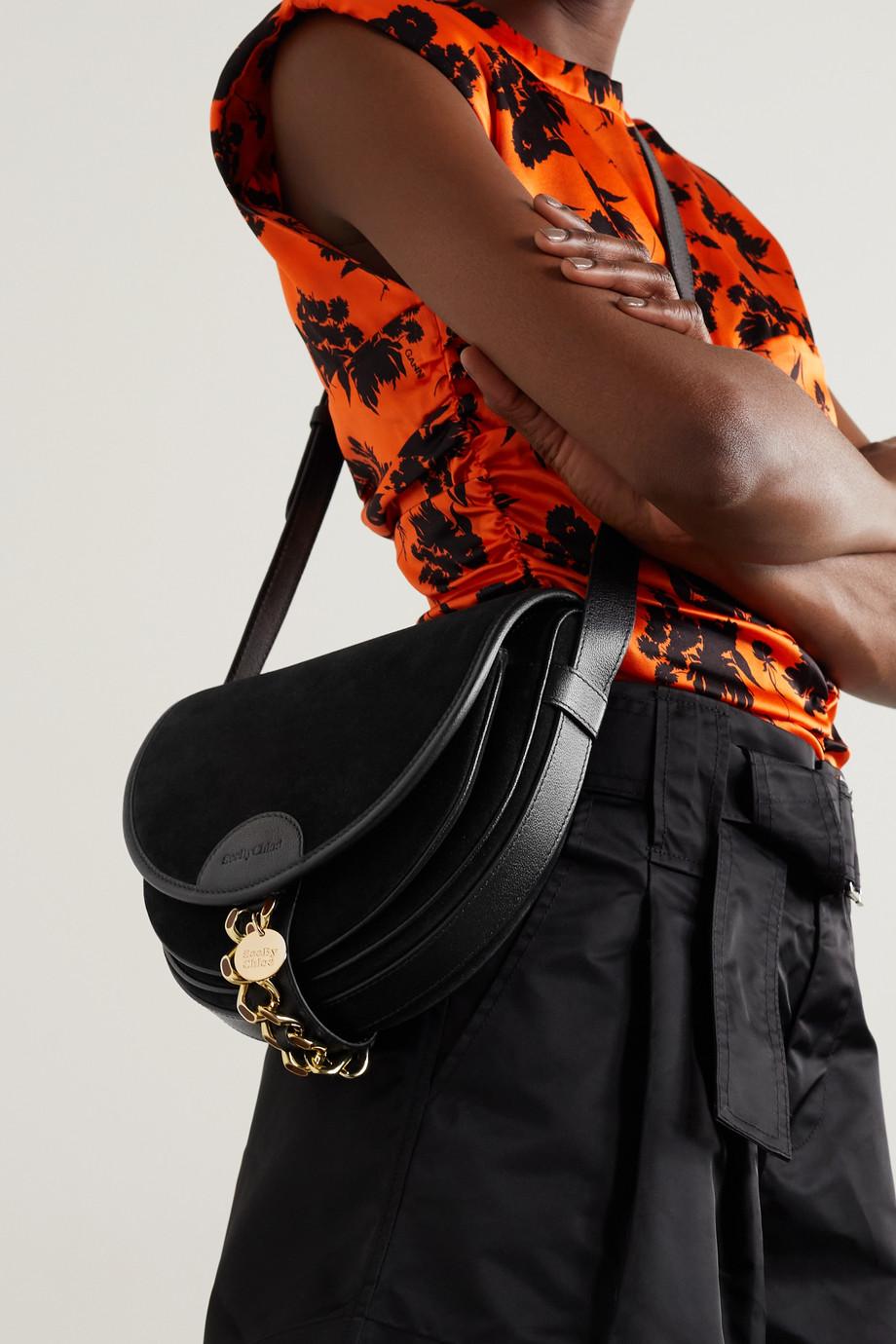 See By Chloé Mara Schultertasche aus Veloursleder mit Lederbesätzen und Verzierung
