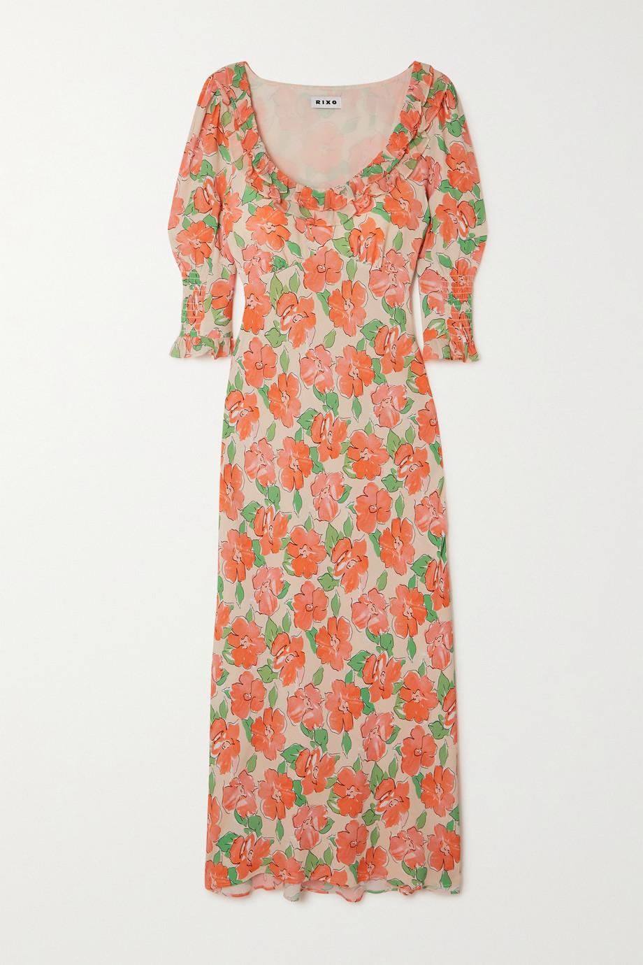 RIXO Juliette ruffled shirred floral-print crepe midi dress