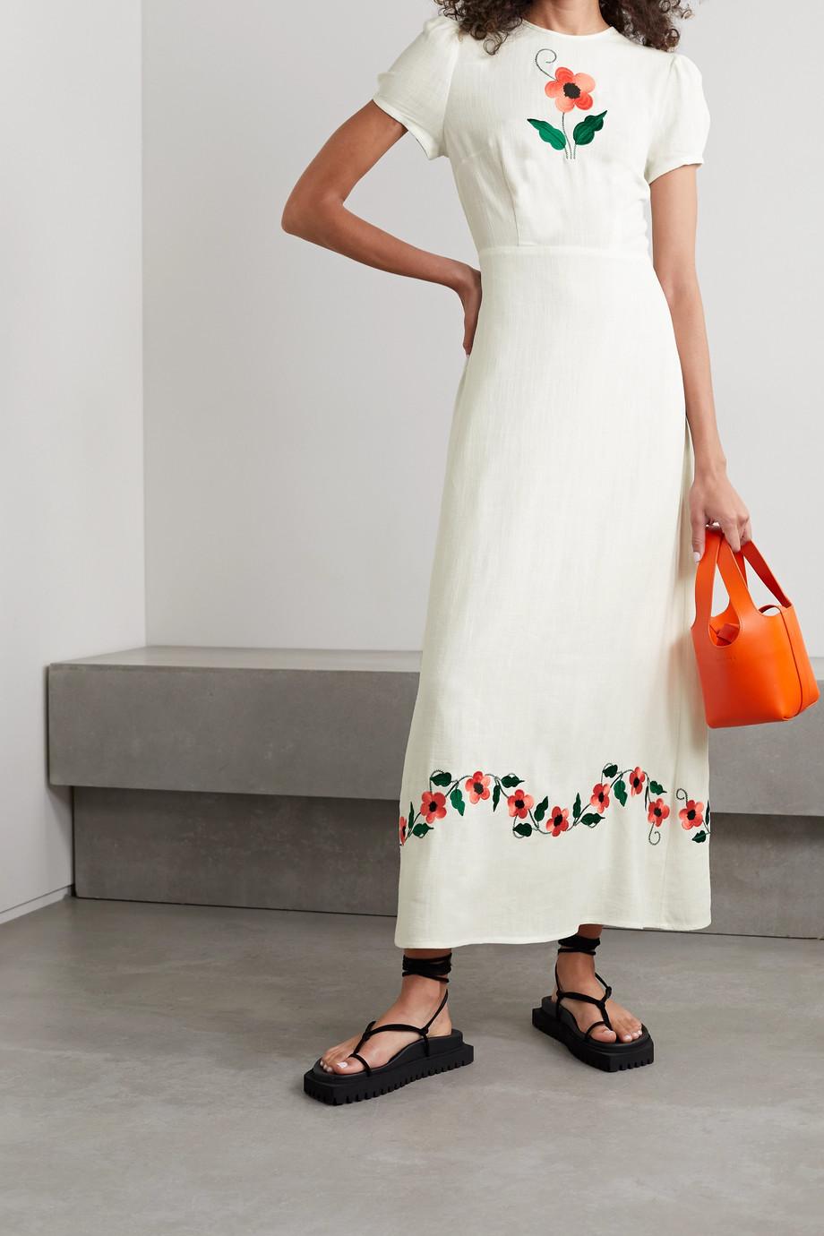 RIXO Aurelia embroidered voile maxi dress