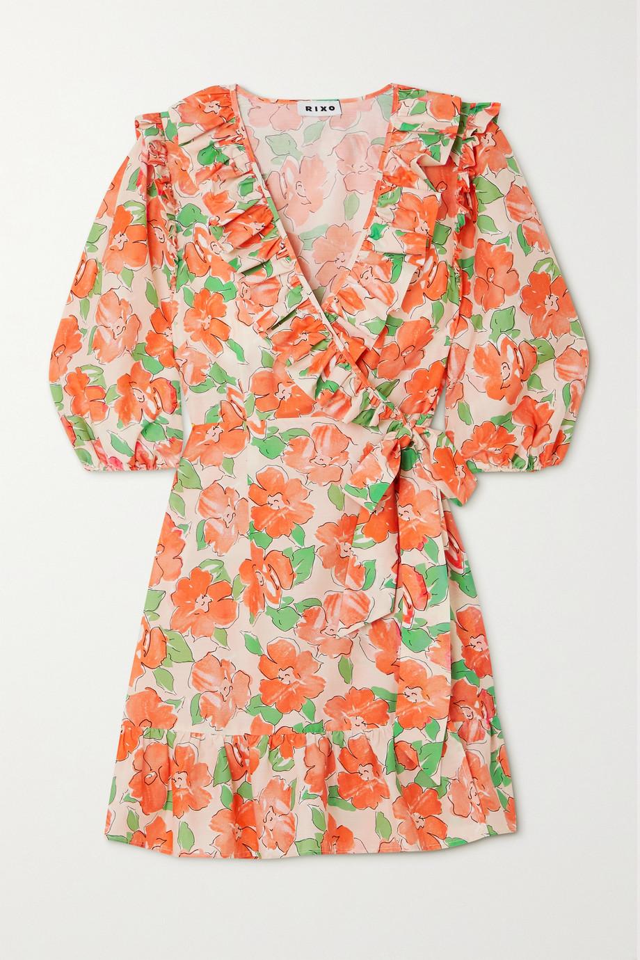 RIXO Lennon ruffled floral-print cotton and silk-blend mini wrap dress