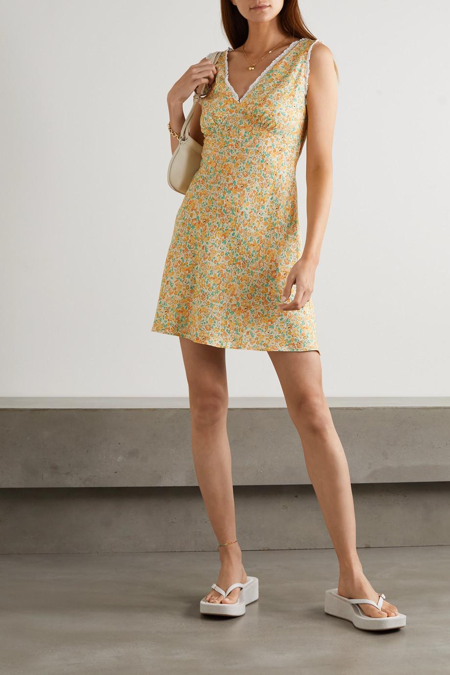 RIXO Gloria crochet-trimmed floral-print crepe de chine mini dress