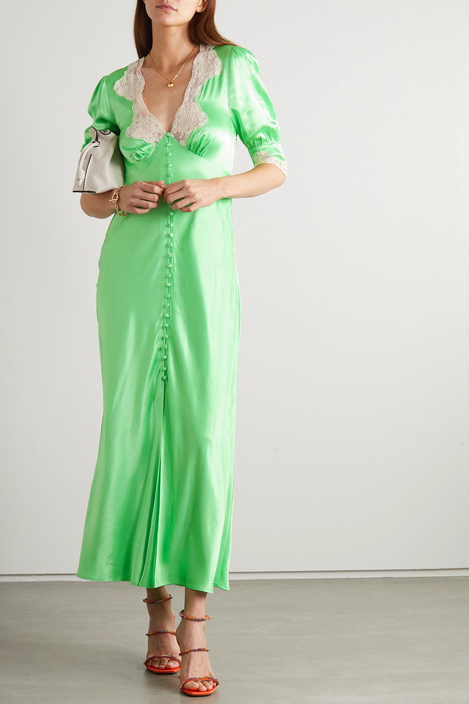 RIXO Simone lace-trimmed hammered-satin midi dress