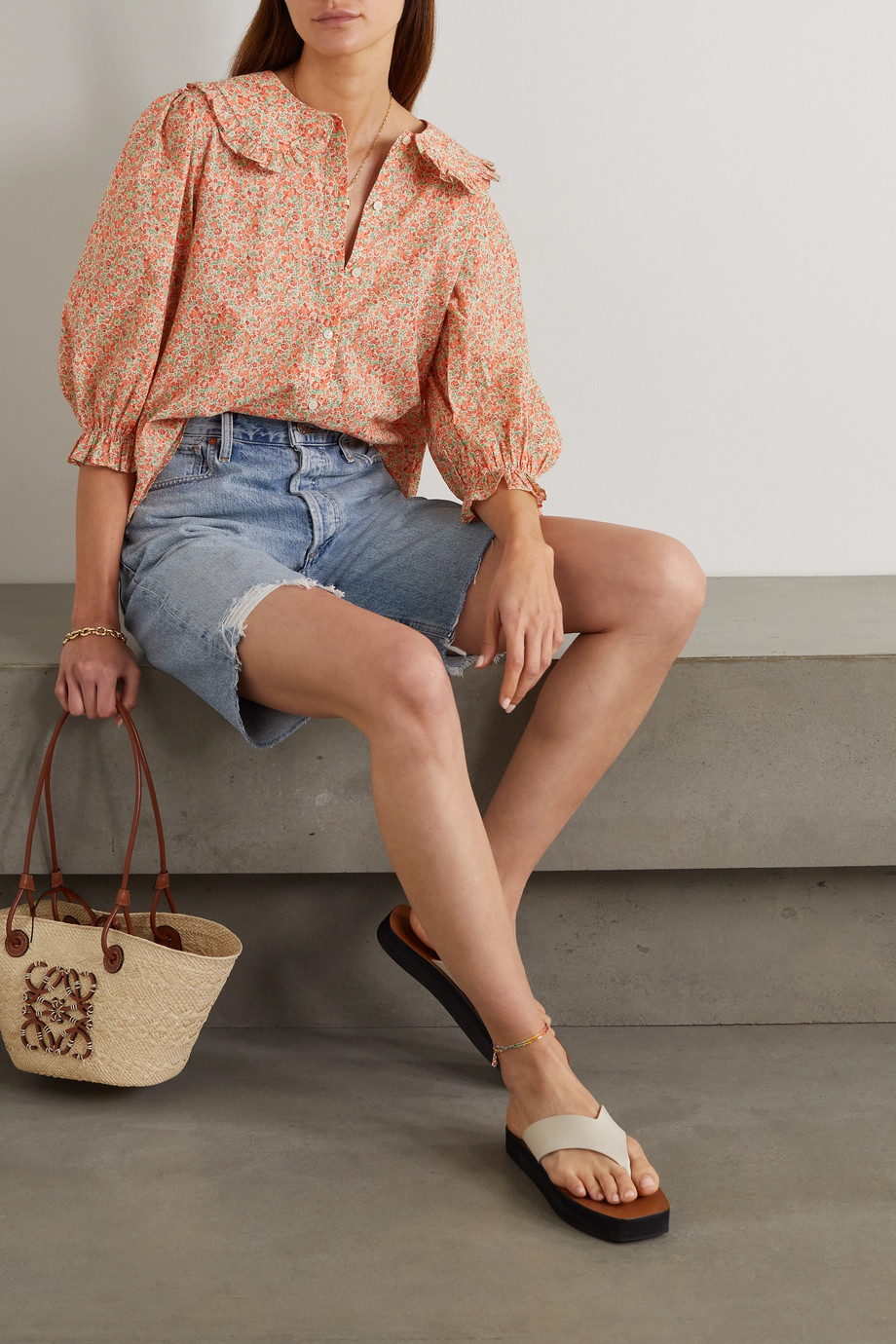 RIXO Nika ruffled floral-print cotton blouse