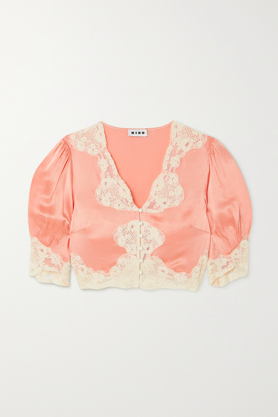 RIXO Yasmin cropped lace-trimmed hammered-satin blouse
