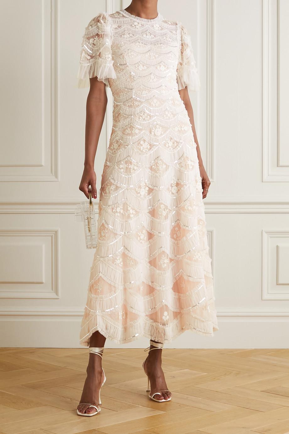 Needle & Thread Robe du soir en tulle à broderies et à sequins Lunette Blossom