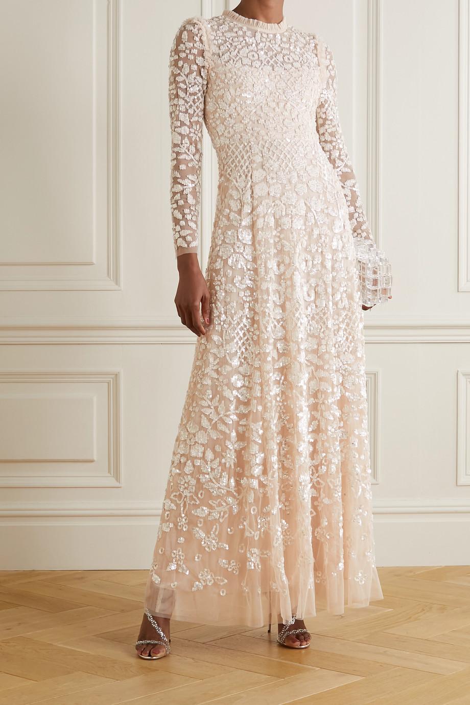 Needle & Thread Aurelia sequin-embellished ruffled tulle gown