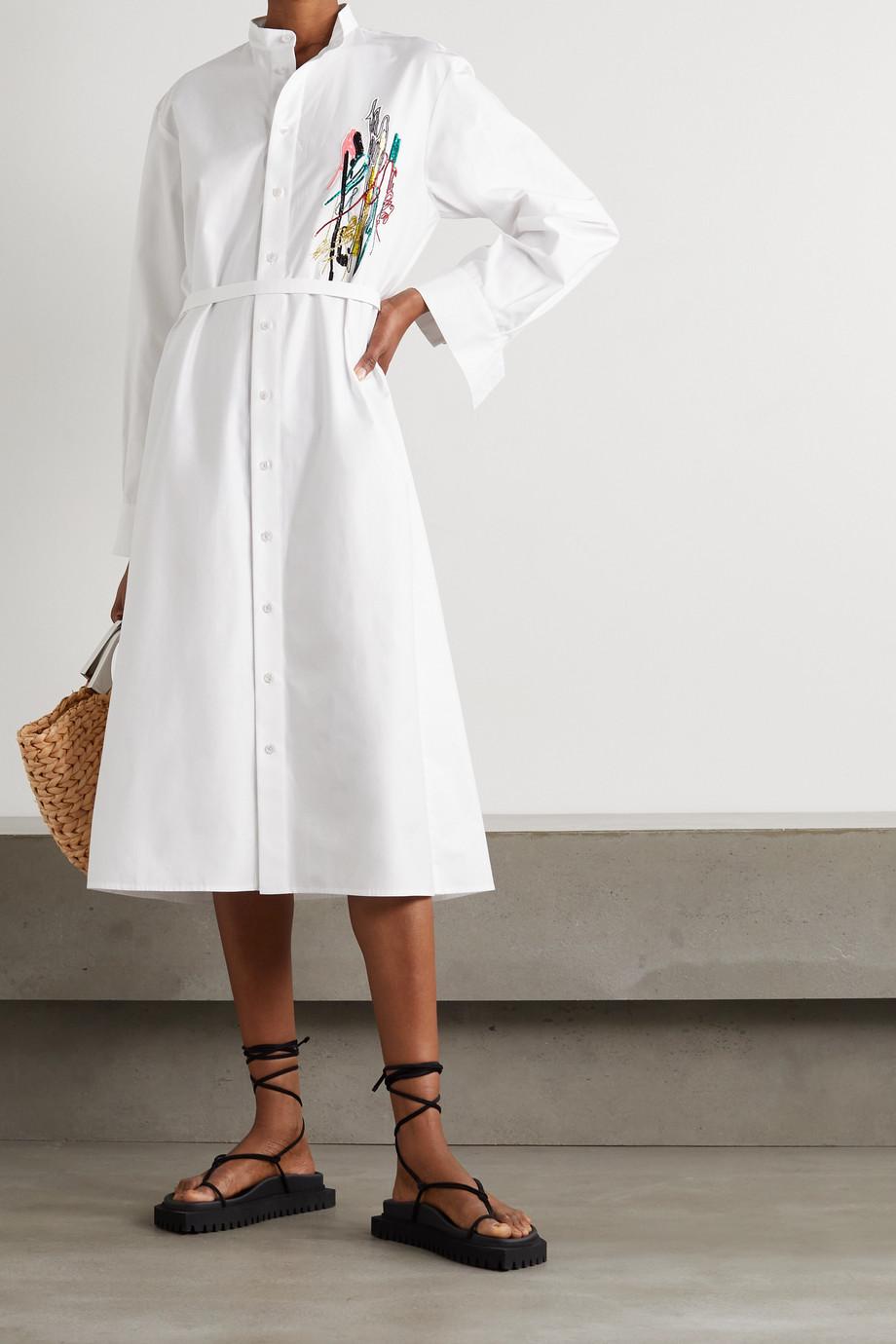 Christopher Kane Squiggle Midi-Hemdblusenkleid aus Baumwollpopeline mit Verzierung und Bindegürtel