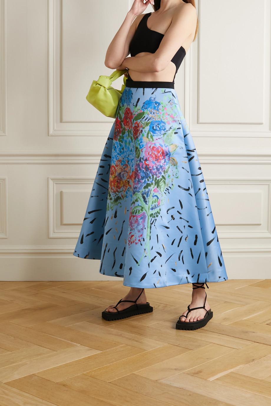 Christopher Kane Grosgrain-trimmed floral-print satin skirt