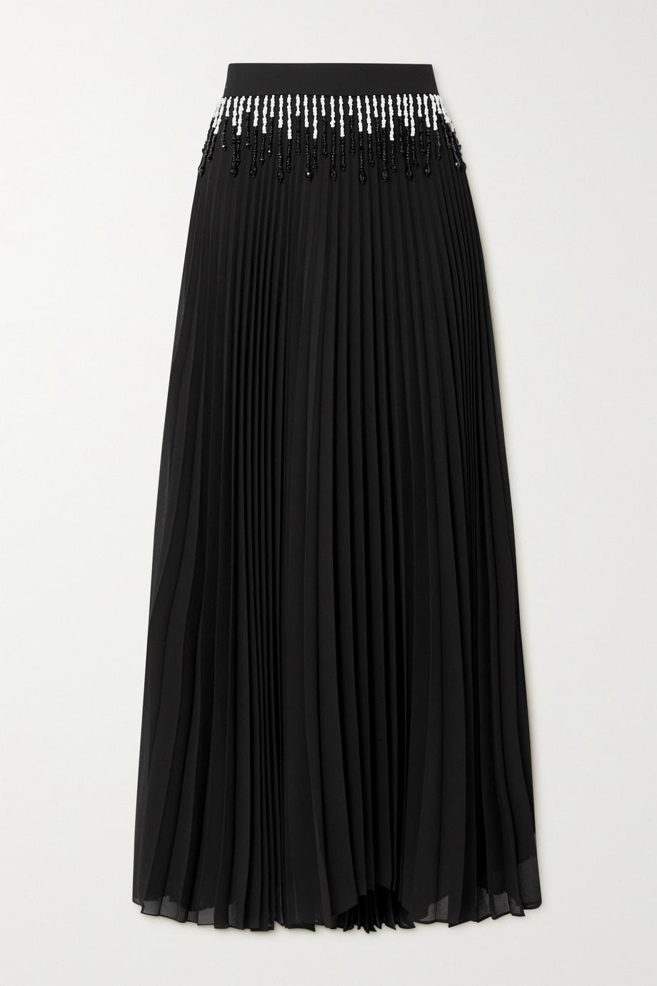 Christopher Kane Bead-embellished pleated crepe maxi skirt