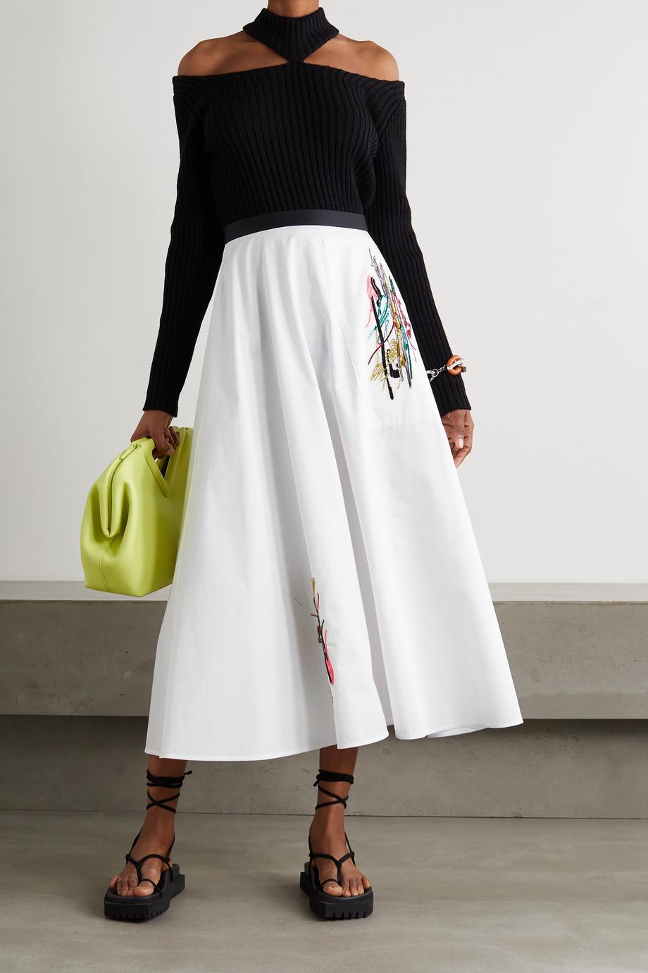Christopher Kane Squiggle embellished cotton-poplin skirt